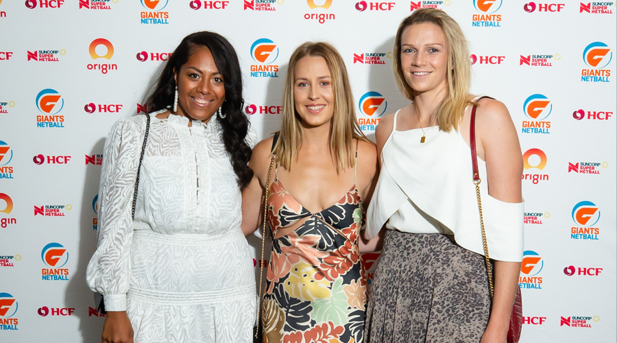 Kristiana Manu'a, Jamie-Lee Price and Jo Harten at arrival at the GIANTS' 2020 Gala Dinner